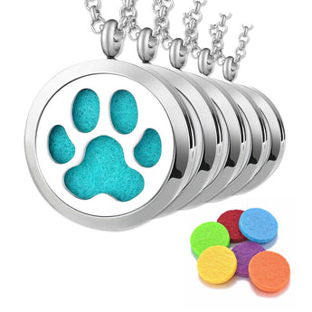 "5pc ""Paw Print"" Bulk Order - Essential Oil Diffuser Necklaces"