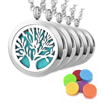 "5pc ""Tree of Life"" Bulk Order - Essential Oil Diffuser Necklaces"