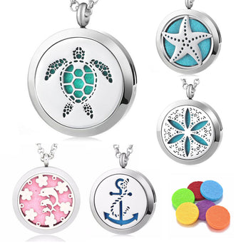 "5pc ""Heart for the Ocean"" Bundle - Essential Oil Diffuser Necklaces"