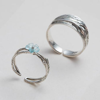 Celticá™ - Forget-Me-Not His and Hers Resizable Sterling Silver Couple Ring