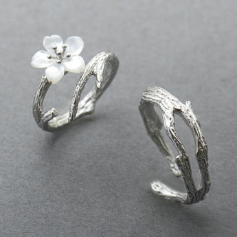 Celticá™ - Snow Sakura His and Hers Resizable Sterling Silver Couple Ring