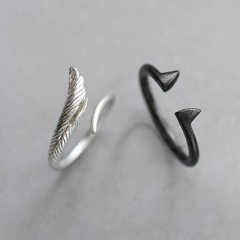 Celticá™ - Angel and Devil His and Hers Resizable Sterling Silver Couple Ring