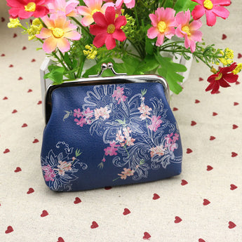 Vintage Flowers In Blue Coin Purse