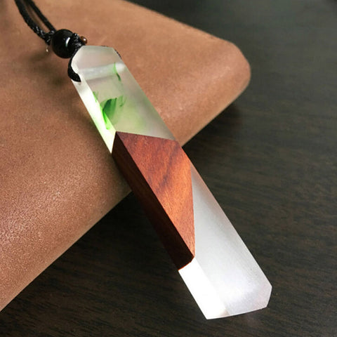 "Drift™ ""Leaf in Water"" Wood Resin Necklace"