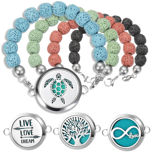Mix & Match - Essential Oil Diffuser Pendant With Elastic Lava Stones Bracelet and 10 Easy-Switch Oil Pads