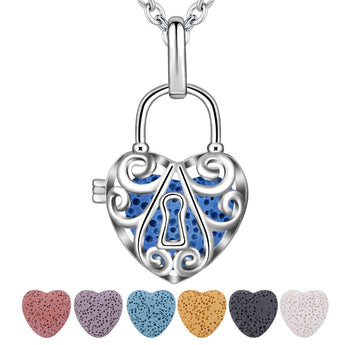 Heart Lock Lava Stone Essential Oil Diffuser Pendant Necklace