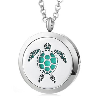Sea Turtle Essential Oil Diffuser Locket Necklace with 5 Easy-Switch Oil Pads