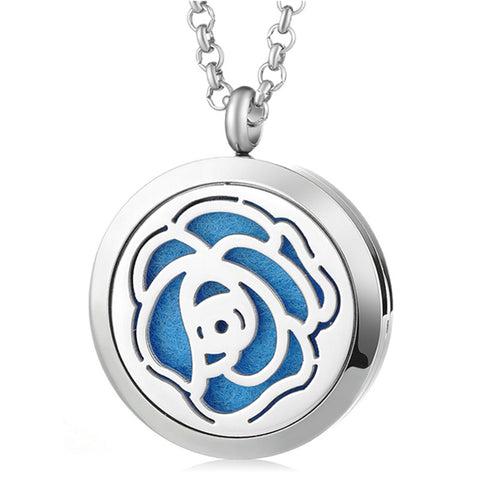 Rose Essential Oil Diffuser Locket Necklace with 5 Easy-Switch Oil Pads