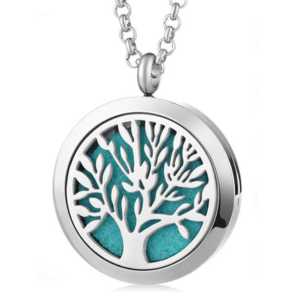 Tree of Life Essential Oil Diffuser Locket Necklace with 5 Easy-Switch Oil Pads