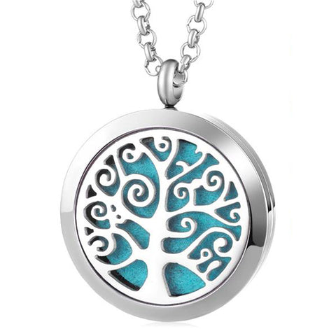 Tree of Tranquility Essential Oil Diffuser Locket Necklace with 5 Easy-Switch Oil Pads