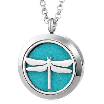 Dragonfly Essential Oil Diffuser Locket with 5 Easy-Switch Oil Pads