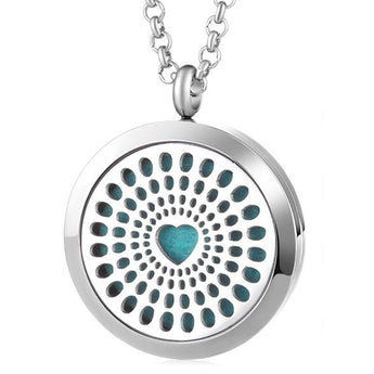 Heart Essential Oil Diffuser Locket Necklace with 5 Easy-Switch Oil Pads
