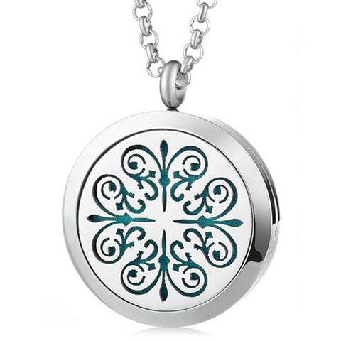 Mandala Quatra Essential Oil Diffuser Locket Necklace with 5 Easy-Switch Oil Pads