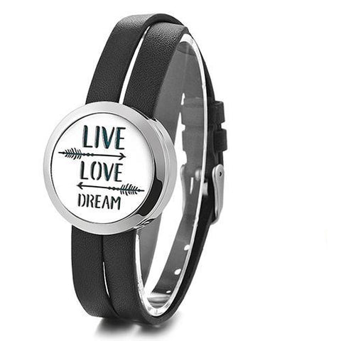Live Love Dream Essential Oil Diffuser Faux Leather Bracelet with 5 Easy-Switch Oil Pads