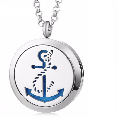 Sailing Anchor Essential Oil Diffuser Locket with 5 Easy-Switch Oil Pads