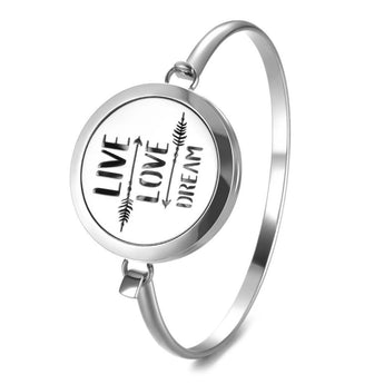 Live Love Dream Essential Oil Diffuser Bangle with 5 Easy-Switch Oil Pads
