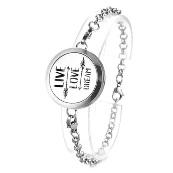 Live Love Dream Essential Oil Diffuser Bracelet with 5 Easy-Switch Oil Pads
