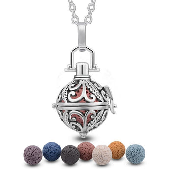 Leaf Filigree Lava Stone Essential Oil Diffuser Pendant Necklace