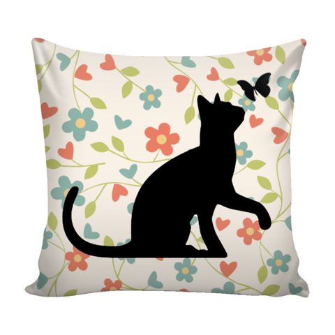 "Floral Cats Square Pillow Cover ""Pastel Garden"""