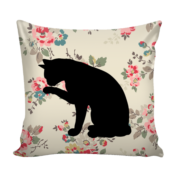 "Floral Cats Square Pillow Cover ""Watercolor Flowers"""
