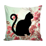 "Floral Cats Square Pillow Cover ""Oriental"""