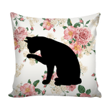 "Floral Cats Square Pillow Cover ""Rose Garden"""