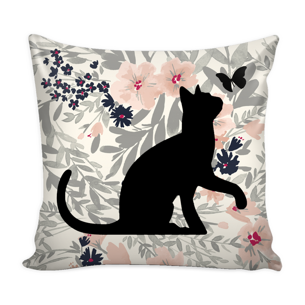 "Floral Cats Square Pillow Cover ""Calm"""