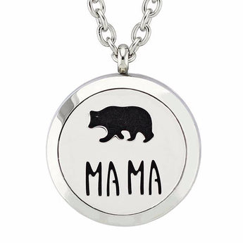 Mama Bear Essential Oil Diffuser Locket Necklace with 5 Easy-Switch Oil Pads