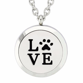 Paws of Love Essential Oil Diffuser Locket Necklace with 5 Easy-Switch Oil Pads