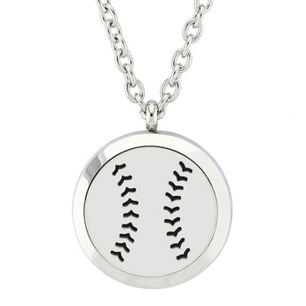 Baseball Essential Oil Diffuser Locket Necklace with 5 Easy-Switch Oil Pads