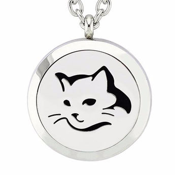 Feline Essential Oil Diffuser Locket Necklace with 5 Easy-Switch Oil Pads