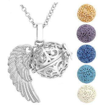 Winged Filigree Lava Stone Essential Oil Diffuser Pendant Necklace