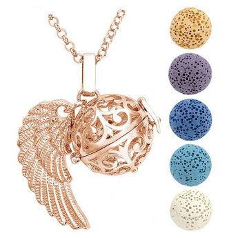 Winged Filigree (Gold Plated) Lava Stone Essential Oil Diffuser Pendant Necklace