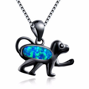Aquastone™ - Blue and White Fire Opal Wild Monkey Necklace