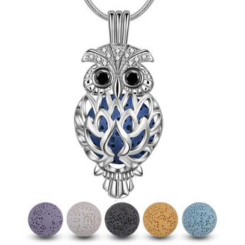Studded Owl Lava Stone Essential Oil Diffuser Pendant Necklace