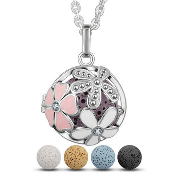 Flower Pop Boquet Lava Stone Essential Oil Diffuser Pendant Necklace