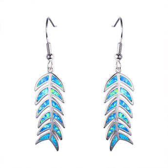 Aquastone™ - Blue Fire Opal Fish Bone Earrings