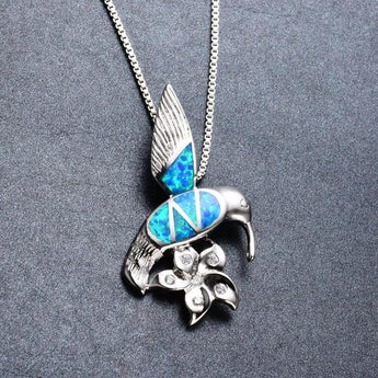 Aquastone™ - Blue Fire Opal Hummingbird Necklace