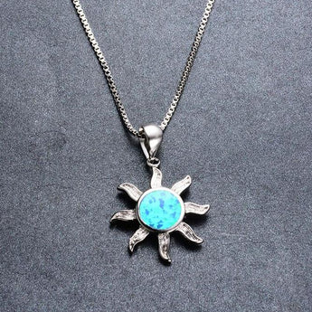 Aquastone™ - Blue Fire Opal Tribal Sun Necklace