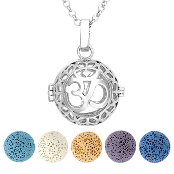 Sahasrara Seventh Chakra Lava Stone Essential Oil Diffuser Pendant Necklace