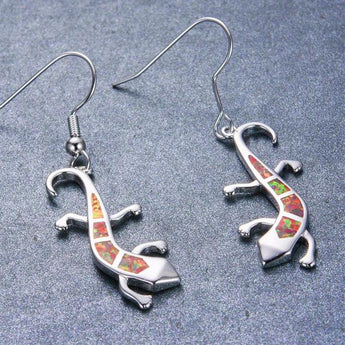 Aquastone™ - Red, White and Blue Fire Opal Wild Gecko Earrings