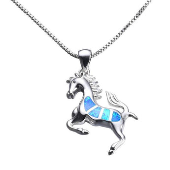 Aquastone™ - Blue Fire Opal The Stallion Necklace