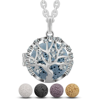 Studded Tree of Life Lava Stone Essential Oil Diffuser Pendant Necklace