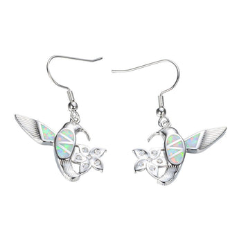 Aquastone™ - White Fire Opal Hummingbird Earrings
