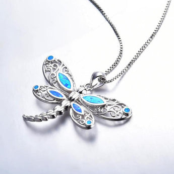 Aquastone™ - Blue Fire Opal Vintage Dragonfly Necklace