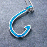 Aquastone™ - Blue Fire Opal Tribal Hook Necklace