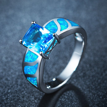 Aquastone™ - Princess Cut Aquamarine & Blue Fire Opal Ring