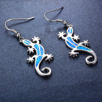Aquastone™ - Blue and White Fire Opal Tribal Gecko Earrings