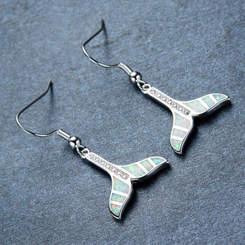 Aquastone™ - White Fire Opal Whale's Tail Earrings