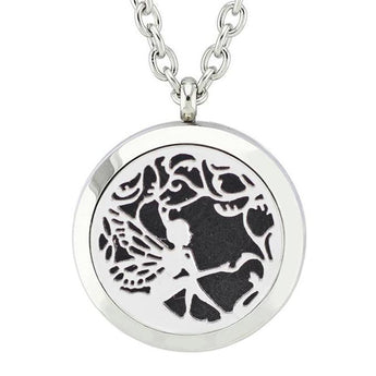 Garden Fairy Essential Oil Diffuser Locket Necklace with 5 Easy-Switch Oil Pads
